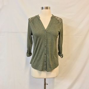 Maurice's Olive Green Lace Accent Button Down Top